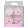 Pink Flower Edible Cupcake Toppers 12pcs