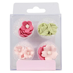 Pink Flowers & Leaves Edible Cupcake Toppers 16pcs