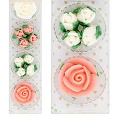 Pink & White Rose Flowers Edible Cupcake Toppers