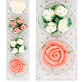 Pink & White Rose Flowers Edible Cupcake Toppers 10pcs