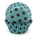 Polka Dot Dark Brown on Aqua Baking Cups 32pcs