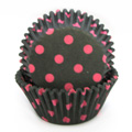 Polka Dot Pink on Black Baking Cups 32pcs