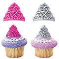 Princess Crown Cupcake Rings 12pcs