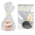 Heart Cupcake Bags w Base & Ribbon Ties 12pcs