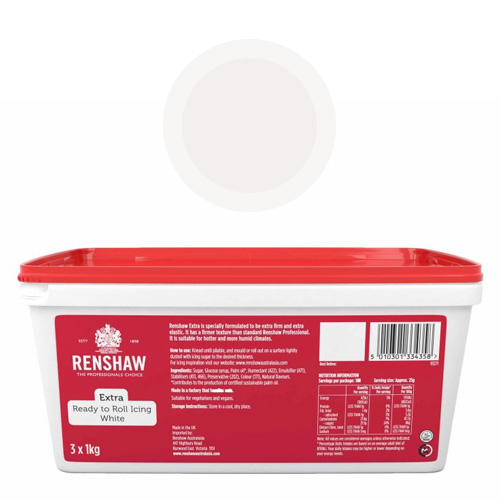 Renshaw Extra White Icing Fondant 3kg (3x 1kg pack)