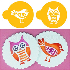 Retro Owl and Bird Stencils 2pcs