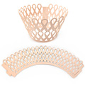 Ribbon Pearl Rose Pink Lace Cupcake Wrappers 12pcs