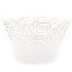 Rose Pearl White Lace Cupcake Wrappers