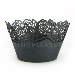 Rose Pearl Black Lace Cupcake Wrappers