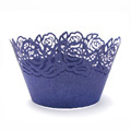 Rose Pearl Purplish Blue Lace Cupcake Wrappers 12pcs