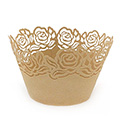 Rose Pearl Dark Gold Lace Cupcake Wrappers 12pcs