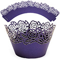 Rose Pearl Dark Purple Lace Cupcake Wrappers 12pcs