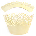 Rose Pearl Light Gold Lace Cupcake Wrappers 12pcs