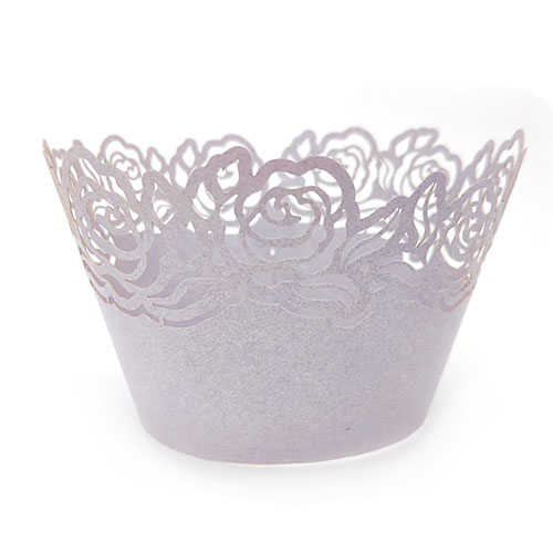 Rose Pearl Light Purple Grey Lace Cupcake Wrappers