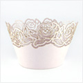 Rose Pearl Pink Lace Cupcake Wrappers 12pcs