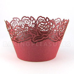 Rose Pearl Red Lace Cupcake Wrappers