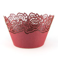 Rose Pearl Red Lace Cupcake Wrappers 12pcs