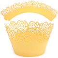 Rose Pearl Yellow Gold Lace Cupcake Wrappers 12pcs