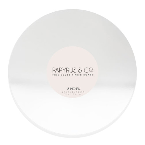 Round Gloss White Masonite Cake Board 8 Inch