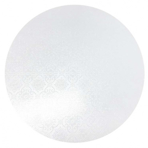 Round White Masonite Cake Board 8 Inch (textured)