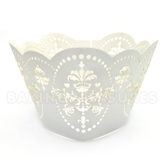 Royal Pearl White Lace Cupcake Wrappers