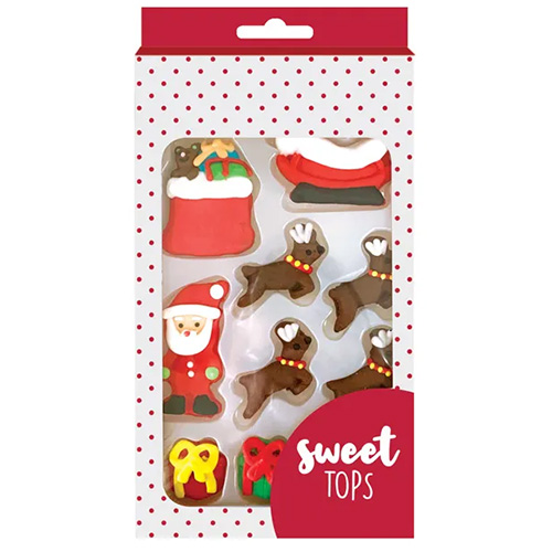 Santa Reindeer Edible Christmas Cupcake Decorations