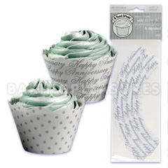 Silver Anniversary Cupcake Wrappers