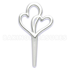 Silver Double Hearts Cupcake Picks