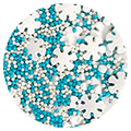 Sprinkd Blue White Christmas Snowflake Mix Sprinkles 130g