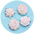 Sugar Shapes 4 Assorted Flowers Silicone Mould
