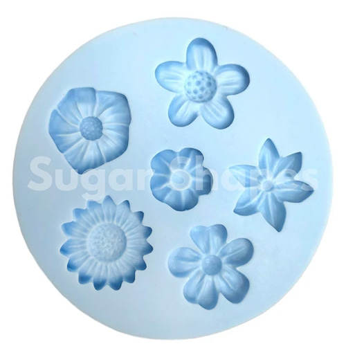 Sugar Shapes 6 Assorted Flowers Silicone Mould