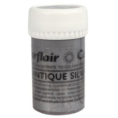 Sugarflair Satin Paste Colour Antique Silver 25g