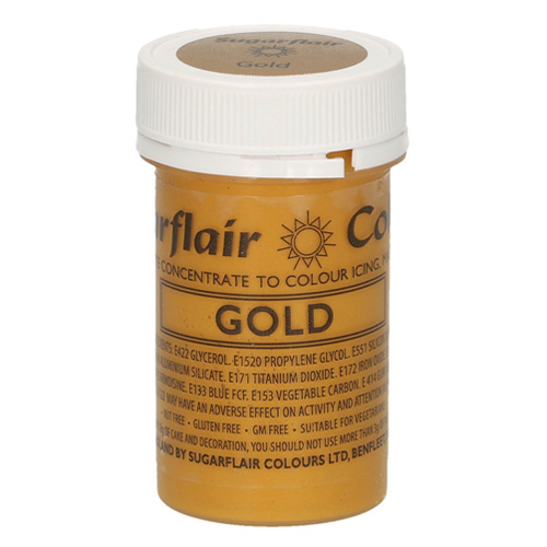 Sugarflair Satin Paste Colour Gold 25g