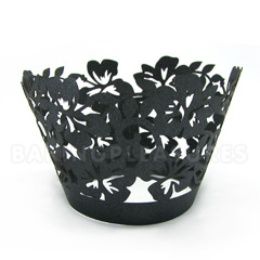 Tropical Pearl Black Lace Cupcake Wrappers 12pcs