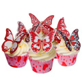 Valentine Edible Wafer Butterflies 12pcs