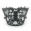 Vines Pearl Gunmetal Black Lace Cupcake Wrappers 12pcs