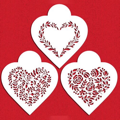 Vintage Hearts Cookie Stencils