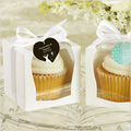 White Cupcake Boxes Fancy Window w White Insert 6pcs