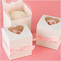 White Cupcake Boxes Heart Window 6pcs