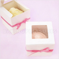 White Cupcake Boxes with Square Window