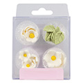 White Flowers & Leaves Edible Cupcake Toppers 16pcs