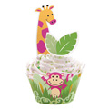 Wilton Jungle Pals Cupcake Wraps & Picks  12pcs