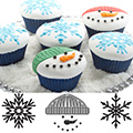 Winter Christmas Cupcake & Cookie Texture Tops 3pcs
