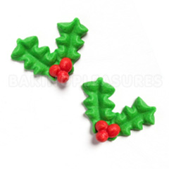 Edible Christmas Holly and Berries Edible Cupcake Toppers