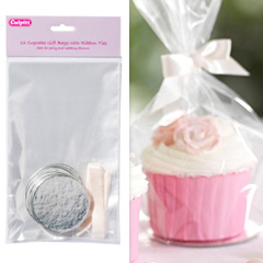 Clear Cupcake Bags w Base & Ribbon Ties