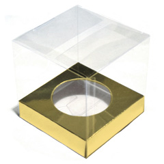 Clear Cupcake Boxes with Gold Insert