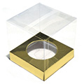 Clear Cupcake Boxes w Gold Insert 6pcs