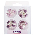 Lilac Hearts & Flowers Edible Cupcake Toppers 24pcs