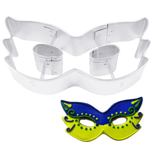 Mardi Gras Mask Cookie Cutter , made of sturdy tin. Silver colour ...