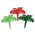 Merry Christmas Greeting Cupcake Picks 12pcs